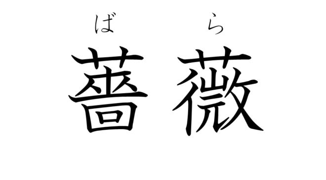 薔薇の漢字を大きく拡大