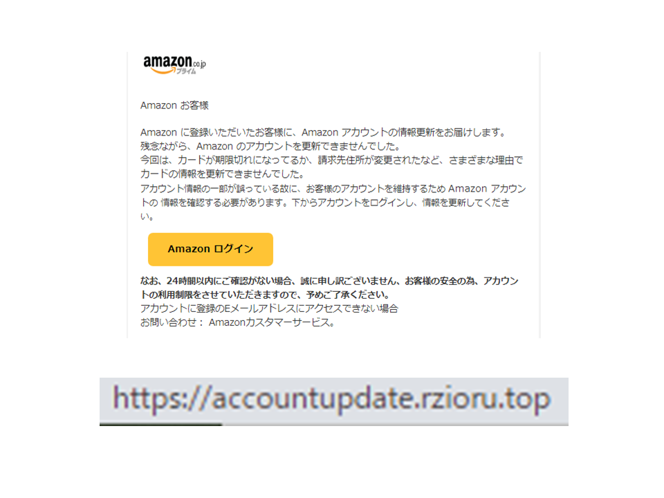 Аmazon に登録いただいたお客様に、Аmazon アカウントの情報更新をお届けします。